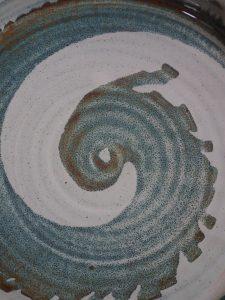 spiral design from a platter